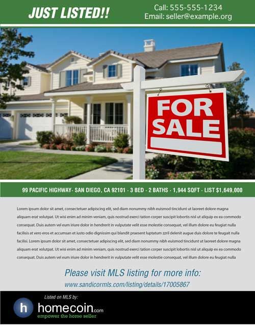 Free Home Sale Flyers Cohasset CA